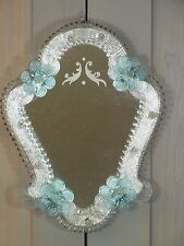 NP10 * Beautiful Murano Art Glass Mirror * Blue & Clear Glass * Vintage Italy