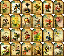 24 FLOWER BIRD BUTTERFLY - VINTAGE STYLE 155 LB SCRAPBOOK PAPER CRAFT CARD TAGS