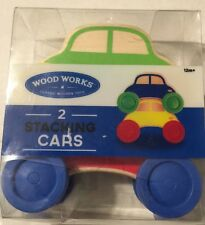 Wooden Stacking Cars 2pc Set Wood Works Toy  12m+ New