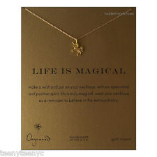 "Dogeared Life is Magical Necklace Gold UNICORN Charm 14K Gold Fill 16"" & POUCH"