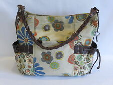 Fossil Brown/Multi Color Leather/Fabric Tote/Hobo - GR8!