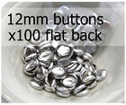 12mm self cover metal BUTTONS FLAT backs (sz 20) 100 QTY + FREE instructions