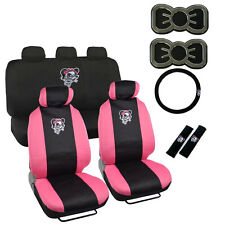 New Set Pink Lady Skull Bow Car Seat Covers Steering Wheel Cover & Emblem