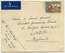 GOLD COAST KUMASI TOWN COUNCIL EMBOSSED ENVELOPE 1/3 FRANKING to FRENCH CONSULAT