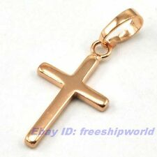 "REAL PRETTY 18K ROSE GOLD GP 0.95"" CROSS PENDANT SOLID FILL GEP JEWELRY Gift FS1"