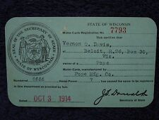 1914 POPE Mfg Co MOTORCYCLE #2666 Wisconsin/WI REGISTRATION CARD Motor Cycle 7HP