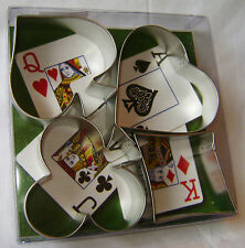 NEW 4 PC CARD NIGHT METAL COOKIE BISCUIT CUTTERS SET HEART DIAMOND SPADE CLUB AH