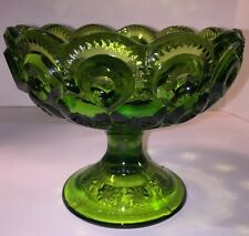 L.E Smith Glass Moon And Stars green Glass Pedestal Candle Holder