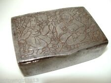 very old Ottoman PERSIAN ISLAMIC etched SNUFF BOX iron? ROUGHLY HEWN praying