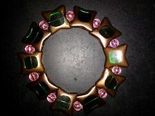 BRACELET STAR SHAPED-(GREEN) WITH RAINBOW PINK BEADS - (49)