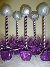 new 5 Hand crafted sweet tree kits cadburys purple silver table center wedding