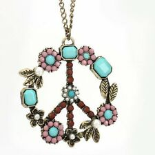 PEACE Long Chain Necklace VINTAGE Flowers Necklace PAIX vrede ketting Hippie