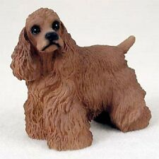 COCKER SPANIEL dog FIGURINE brown puppy HAND PAINTED COLLECTIBLE resin statue