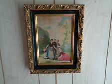 Oil On Canvas Painting Of European Family In The Country  With Belgium Frame