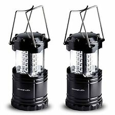Divine LEDs Bright 2 Pack Portable Outdoor Camping Lantern, Black, Collapsbile