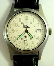 Vintage Players Edge Round Face Leather Strap Men's Watch