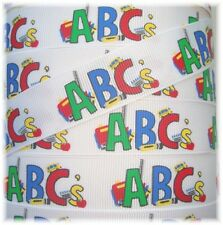 7/8 ABC SCHOOL DAYS GROSGRAIN RIBBON TEACH BUS RULER APPLE CRAYON 4 HAIRBOW BOW