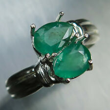 Natural Zambian pear twins Emeralds Sterling 925 Silver engagement knot ring