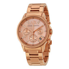Armani Exchange Chronograph Rose Mother of Pearl Dial Rose Gold-tone Ladies