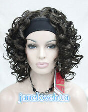 2015 Ladies girl dark brown Curly wavy 3/4 wig with headband half wigs + wig cap