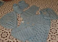 Handmade Crochet Baby Boy Sweater,Hat, Diaper Cover Bootie Set  Newborn 6 Months