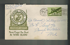 1944 USA Patriotic Cover Ithaca NY Camp Ritchie MD USMC MArine Corps Wake Island