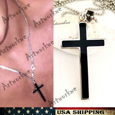 Small Unisex's Silver black Stainless Steel Cross Mens/womens Necklace
