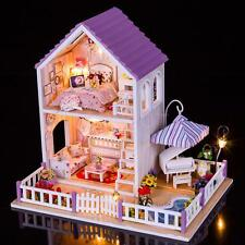 DIY Handcraft Miniature Project Kit Dolls House Large Purple Villa Furniture