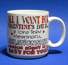 Vtg Russ Berrie Mug Valentines Day Gift Hearts Funny Saying One Night Stand