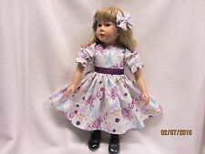 "POSTCARDS FROM PARIS dress & 2 matching bow barrettes fits 23"" My Twinn doll"