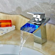 New Deck Mounted LED Color Changing Basin Sink Faucet Single Handle Chrome Mixer