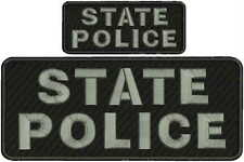 "state police embroidery patches 4 X 10"" and 2x5hook on back gray"