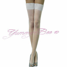 Stockings Lace Hold Ups Sexy Seam Sheer Fishnet Tights Thigh Opaque Bow Women UK
