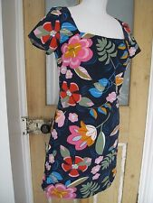 Switch Navy Blue x Pink Red Floral Short Sleeve Holiday Summer Hawaiian Dress S