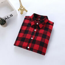 WOMENS CAMPUS PLAID CHECK SHIRT LONG SLEEVE FLANNEL BUTTON DOWN BLOUSE TOP 6-14