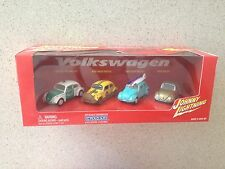 Johnny Lightning 4 Car Set, Volkswagen, VW, Beetles, Bugs surf blue bug 1:64