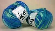 2 Balls Exquisite Multicolor Dyed Yarn in Blue-Bulky Yarn for Knit or Crochet