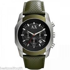 ARMANI EXCHANGE OLIVE GREEN PERFORATED LEATHER+SILVER,BLACK CHRONO WATCH AX1167
