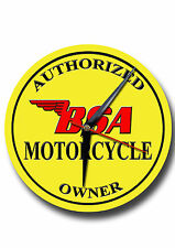 CLASSIC BRITISH AUTHORIZED BSA MOTORCYCLE OWNER  METAL CLOCK