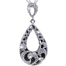 Micro Pave Set Black Teardrop Swarovski Crystal Ele Pendant Chain Long Necklace