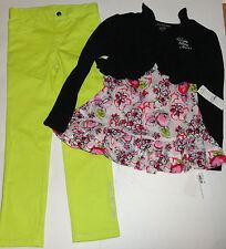 Nuevo Calvin Klein 3pc Chicas Traje Set De 6 Años encogerse de hombros, TOP Jeans Calzas Set Auth