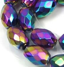 20 Czech Firepolish Glass Faceted Barrel Beads 10x7mm - Metallic Peacock rainbow