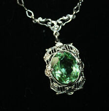 ANTIQUE EDWARDIAN   PERIDOT 925 STERLING  NECKLACE