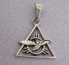 Mexico 925 Silver Taxco Triangle Pyramid Holy Spirit Dove Bird Religious Pendant