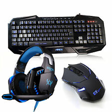 ARES Gaming LED Backlit Keyboard and Wireless Mouse with Headset MIC Bundles Set