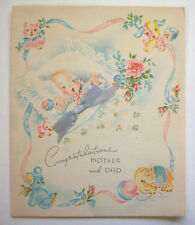 Vintage New baby Boy congratulations fabric blue bow unused greeting card  *U