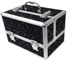 Black Large Floral Flower Beauty Cosmetic Box Make Up Vanity Storage Saloon Case