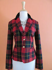 New C Wonder Chris Burch Size 6 Red Plaid Velvet Collar Wool Holiday Blazer