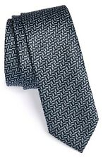 Z Zegna Skinny Woven Silk Blend Tie Made in Italy