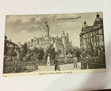 PC B/W ZEPPELIN AIRSHIP AT NEW TOWN HALL TO  LEIPZIG GERMANY CIRCA 1913